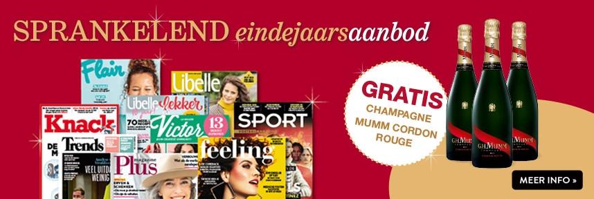 Sprankelend eindejaarsaanbod - neem of schenk een abonnement op uw favoriete magazine en krijg gratis champagne